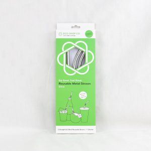 Silver 4 Pack Metal Straw